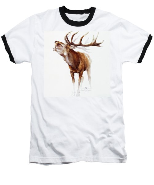 Belling Stag Watercolor Baseball T-Shirt