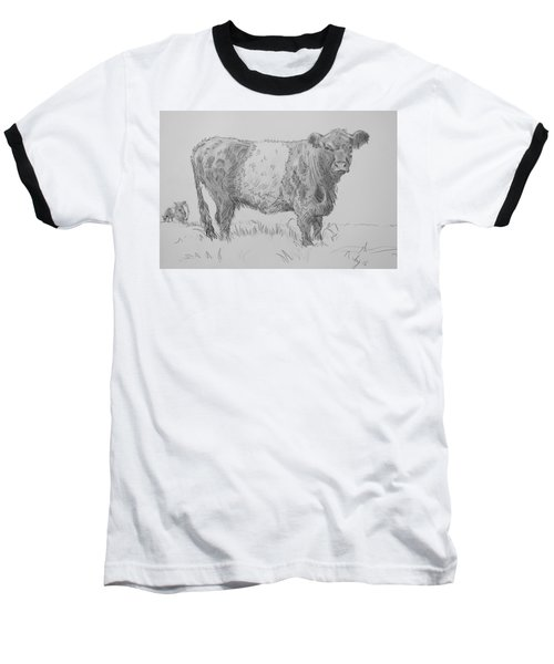 Belted Galloway Cow Pencil Drawing Baseball T-Shirt