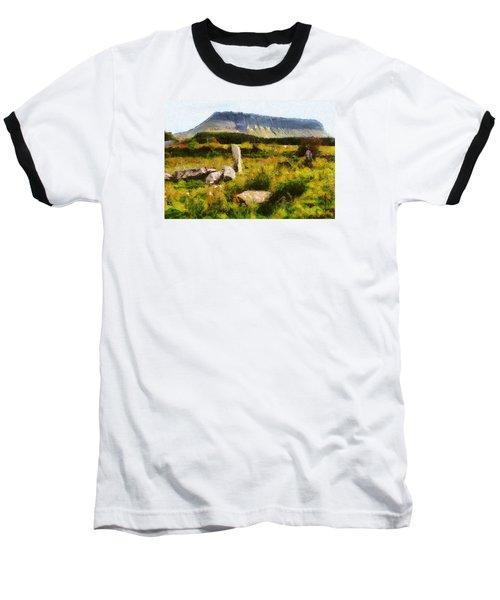Baseball T-Shirt featuring the digital art Benbulben Sligo by Charmaine Zoe