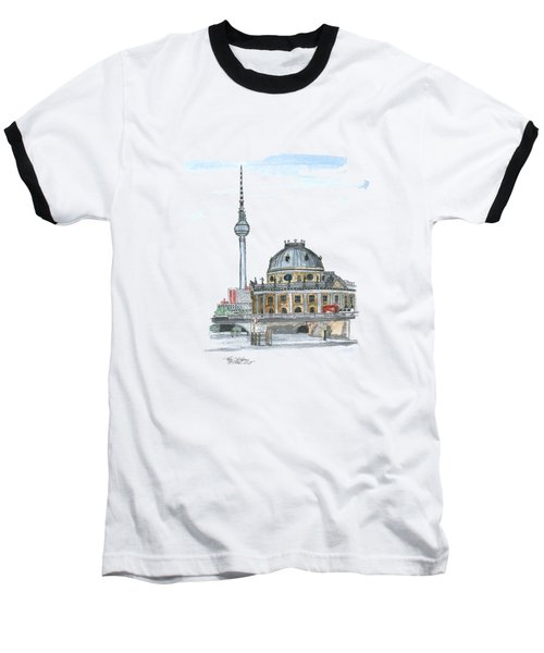 Berlin Fernsehturm Baseball T-Shirt by Petra Stephens