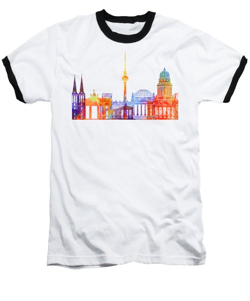 Berlin Landmarks Watercolor Poster Baseball T-Shirt