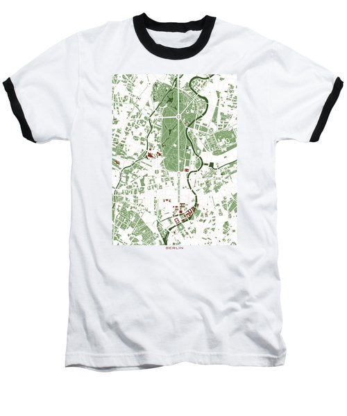Berlin Minimal Map Baseball T-Shirt by Jasone Ayerbe- Javier R Recco