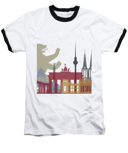 Berlin Skyline Poster Baseball T-Shirt by Pablo Romero