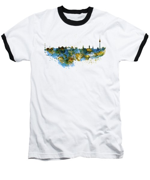 Berlin Watercolor Skyline Baseball T-Shirt by Marian Voicu
