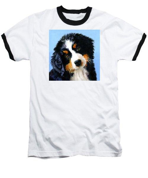 Bernese Mountain Puppy Baseball T-Shirt by Alice Leggett