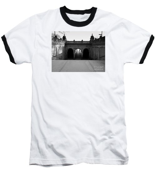 Bethesda Terrace In Central Park - Bw Baseball T-Shirt