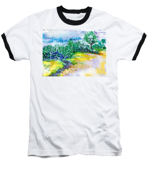 Baseball T-Shirt featuring the drawing Beyond The Clouds by Seth Weaver