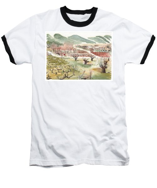 Baseball T-Shirt featuring the painting Bicycling Through Vineyards by Tilly Strauss