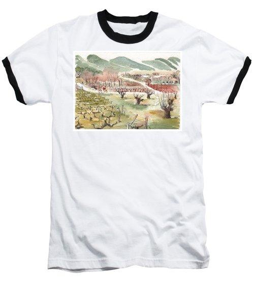 Bicycling Through Vineyards Baseball T-Shirt