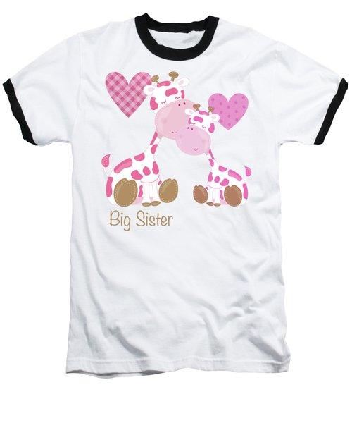 Big Sister Cute Baby Giraffes And Hearts Baseball T-Shirt