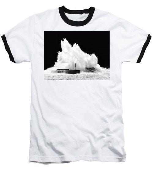 Big Wave Breaking On Breakwater Baseball T-Shirt