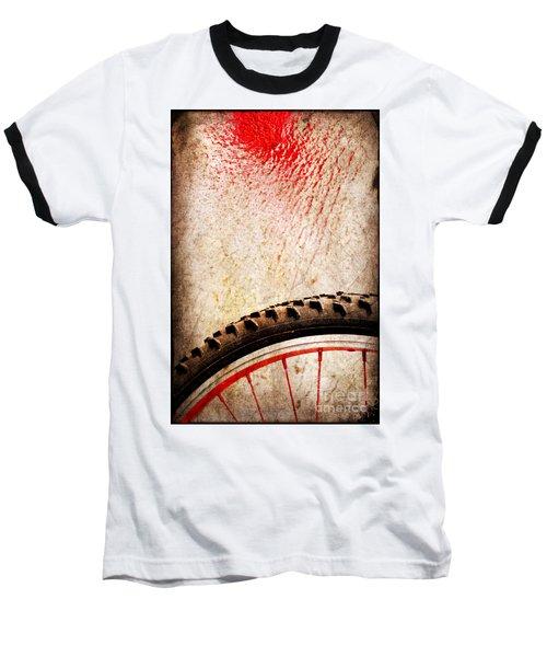 Bike Wheel Red Spray Baseball T-Shirt by Silvia Ganora