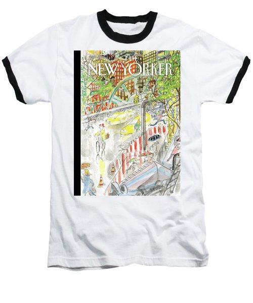Biking In The Rain Baseball T-Shirt