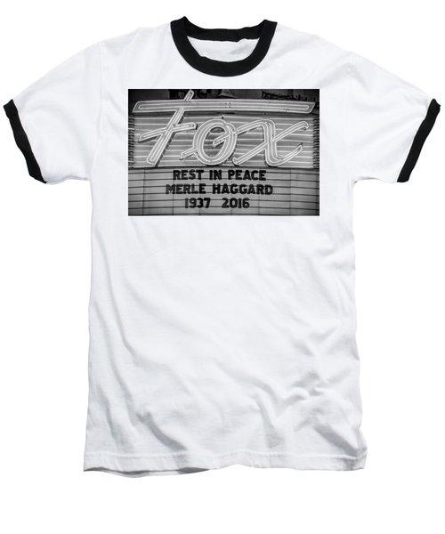 Billboard Merle Haggard Rip Black And White Baseball T-Shirt