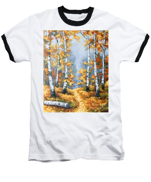 Birch Forest Path Baseball T-Shirt