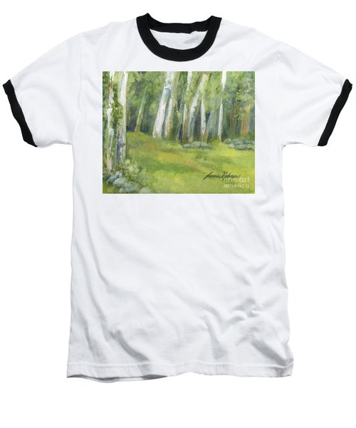 Birch Trees And Spring Field Baseball T-Shirt