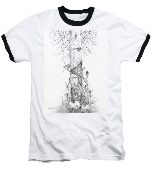 Bird In Birch Tree Baseball T-Shirt