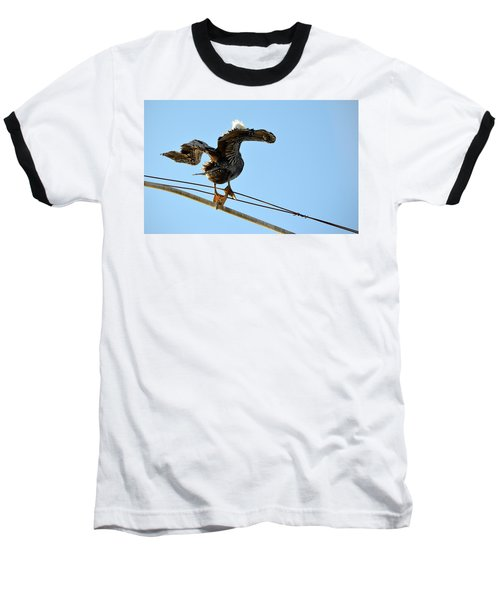 Baseball T-Shirt featuring the photograph Bird On The Wire by AJ Schibig