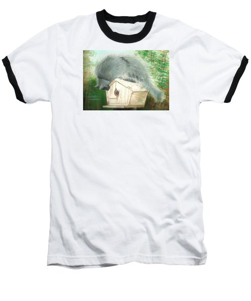 Baseball T-Shirt featuring the painting Birdie In The Hole by Denise Fulmer
