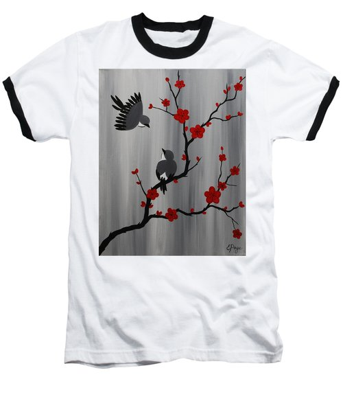Birds And Blooms In Red Baseball T-Shirt