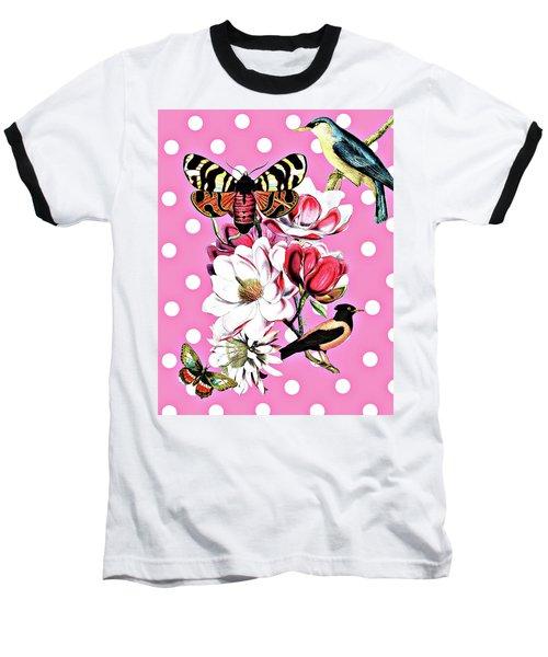 Birds, Flowers Butterflies And Polka Dots Baseball T-Shirt
