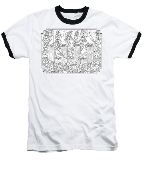 Birds In Flower Garden Coloring Page Baseball T-Shirt