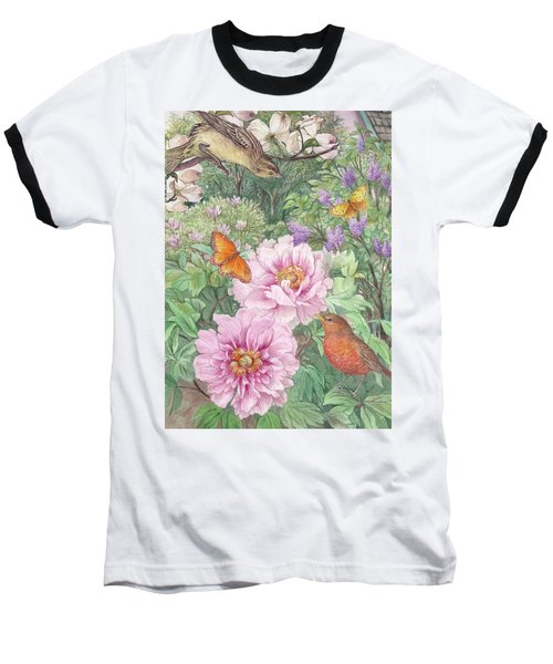 Baseball T-Shirt featuring the painting Birds Peony Garden Illustration by Judith Cheng