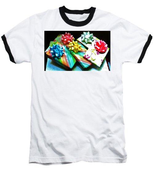 Birthday Presents Baseball T-Shirt by Denise Fulmer