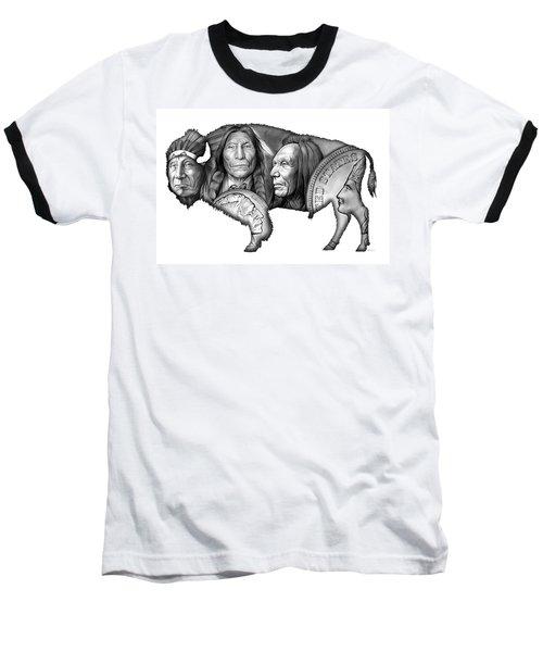 Bison Indian Montage 2 Baseball T-Shirt