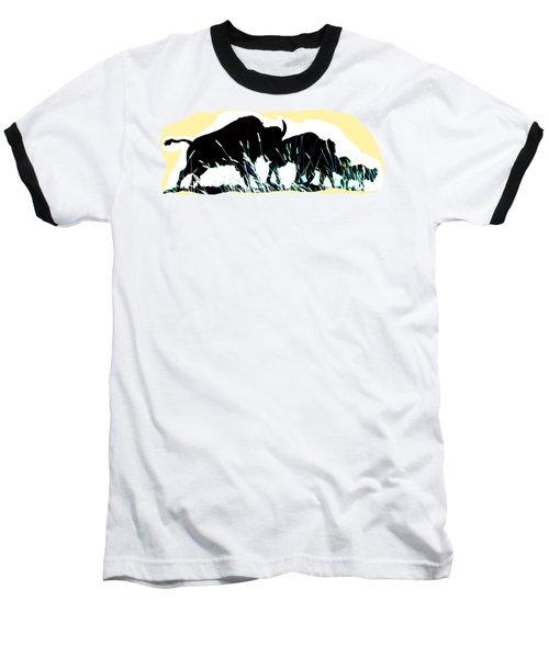 Bison Prairie Run Baseball T-Shirt by Aliceann Carlton