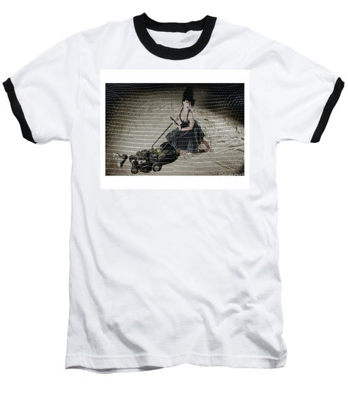 Bizarre Girl With Lawn Mower On Beach Baseball T-Shirt by Michael Edwards