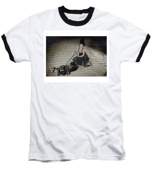 Bizarre Girl With Lawn Mower On Beach Baseball T-Shirt