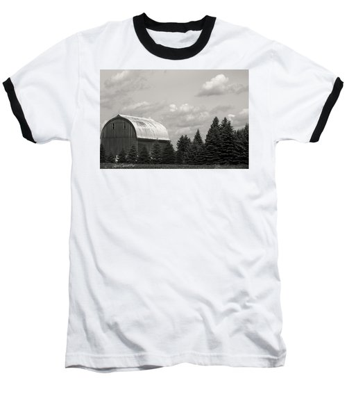 Black And White Barn Baseball T-Shirt by Joann Copeland-Paul