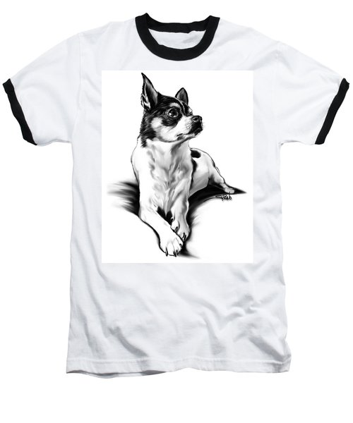 Black And White Chihuahua By Spano Baseball T-Shirt by Michael Spano