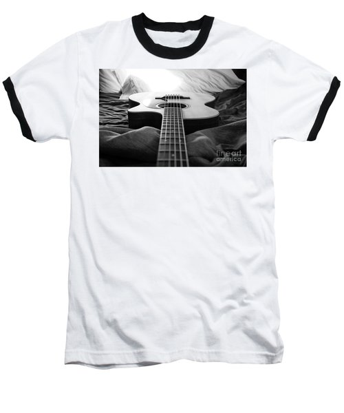 Baseball T-Shirt featuring the photograph Black And White Guitar by MGL Meiklejohn Graphics Licensing
