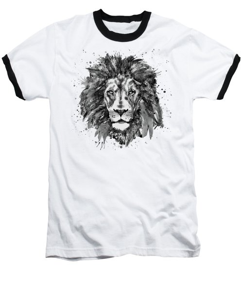 Black And White Lion Head  Baseball T-Shirt by Marian Voicu