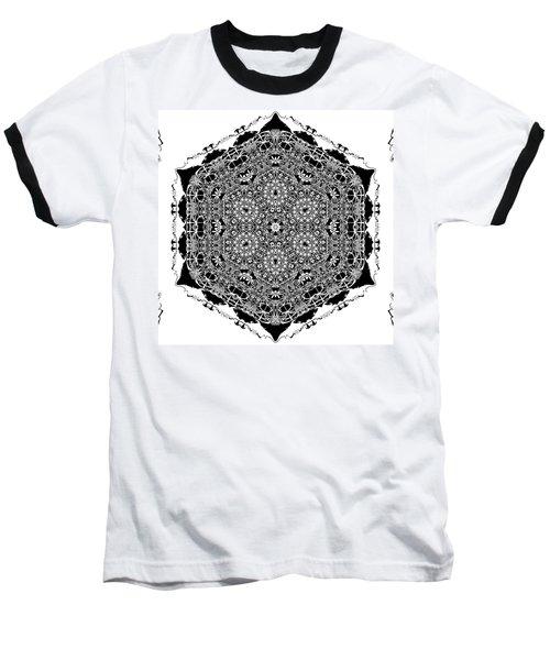Baseball T-Shirt featuring the digital art Black And White Mandala 15 by Robert Thalmeier