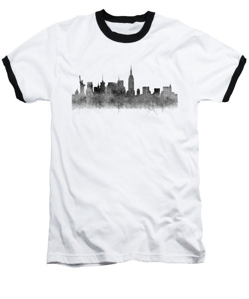 Baseball T-Shirt featuring the digital art Black And White New York Skylines Splashes And Reflections by Georgeta Blanaru