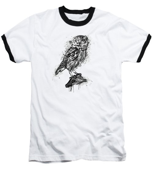 Baseball T-Shirt featuring the mixed media Black And White Owl by Marian Voicu