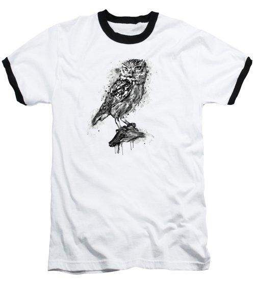 Black And White Owl Baseball T-Shirt