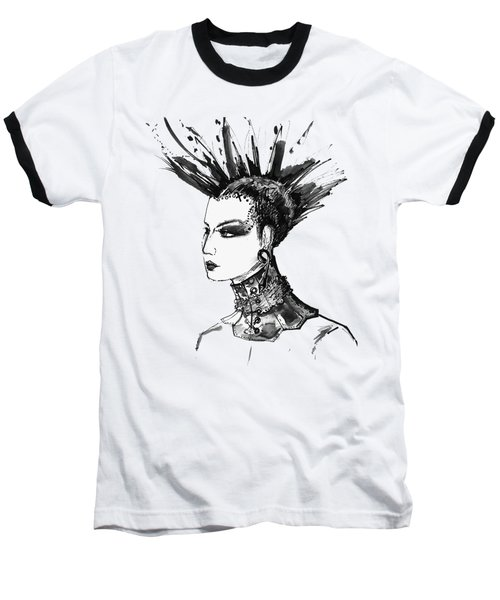 Baseball T-Shirt featuring the digital art Black And White Punk Rock Girl by Marian Voicu