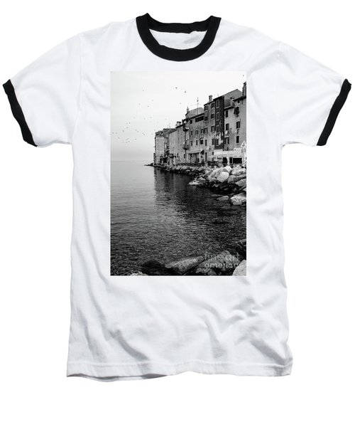 Black And White - Rovinj Venetian Buildings And Adriatic Sea, Istria, Croatia Baseball T-Shirt
