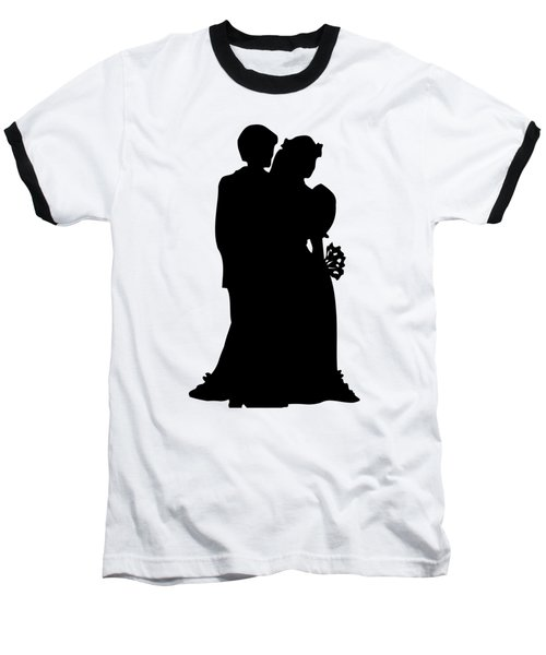 Black And White Silhouette Of A Bride And Groom Baseball T-Shirt