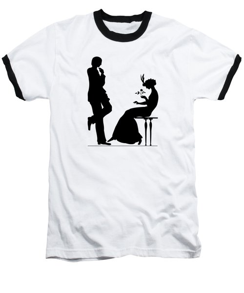 Baseball T-Shirt featuring the digital art Black And White Silhouette Of A Man Giving A Woman A Flower by Rose Santuci-Sofranko