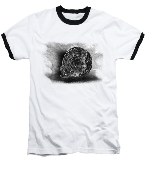 Black And White Skull On Transparent Background Baseball T-Shirt