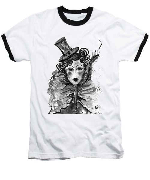 Baseball T-Shirt featuring the mixed media Black And White Watercolor Fashion Illustration by Marian Voicu