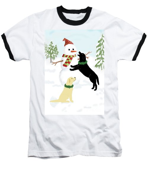 Black And Yellow Labs With Snowman Baseball T-Shirt