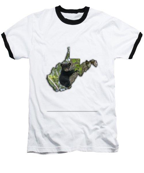 Black Bear Cub Climbing Down A Tree Baseball T-Shirt