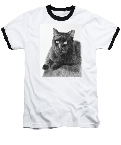 Black Cat Detailed Drawing Baseball T-Shirt by Kate Sumners