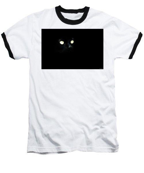 Black Cat Baseball T-Shirt by Ryan Wyckoff